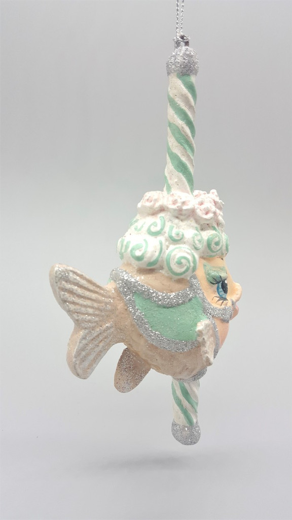 Carousel Peppermint Kissing Fish Christmas Ornament