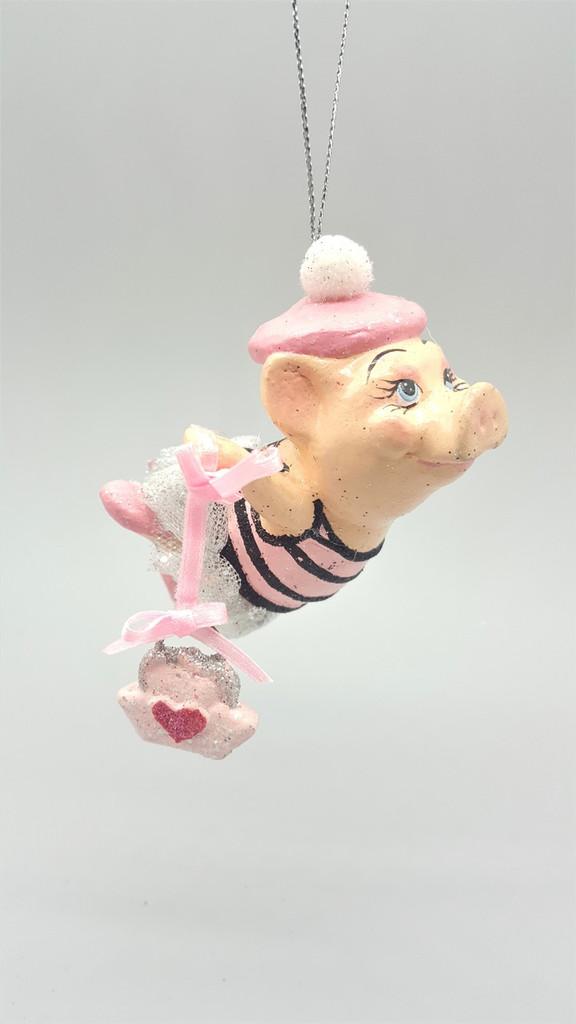 Paris Girl Pig Christmas Tree Ornament