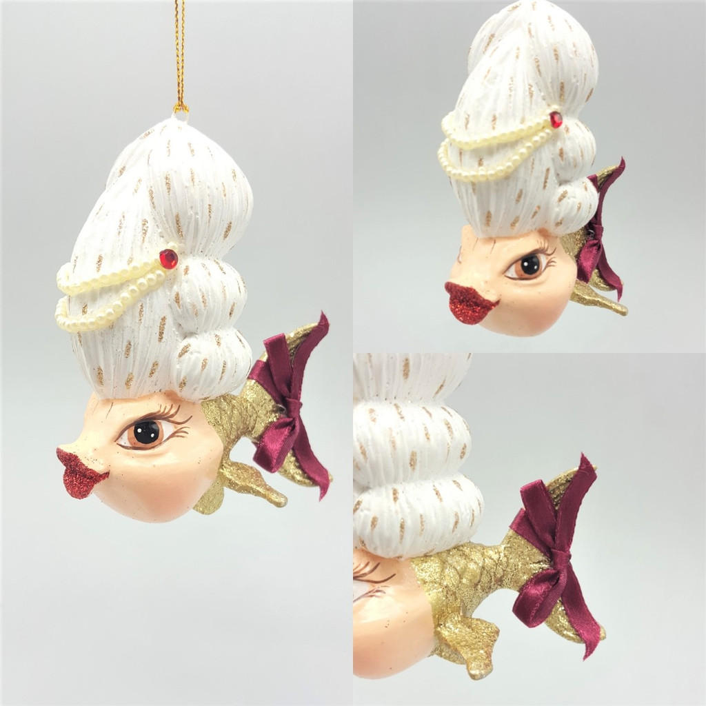 Madame Kissing Fish Christmas Tree Ornament Display.