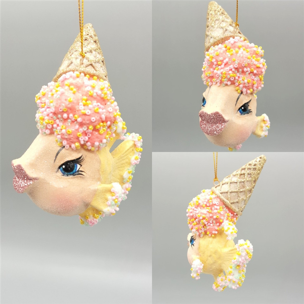 Ice Cream Cone Kissing Fish Christmas Tree Ornament Display