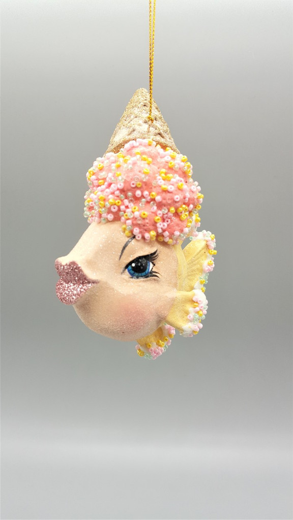Kissing Fish Ice Cream Cone Tree Ornament