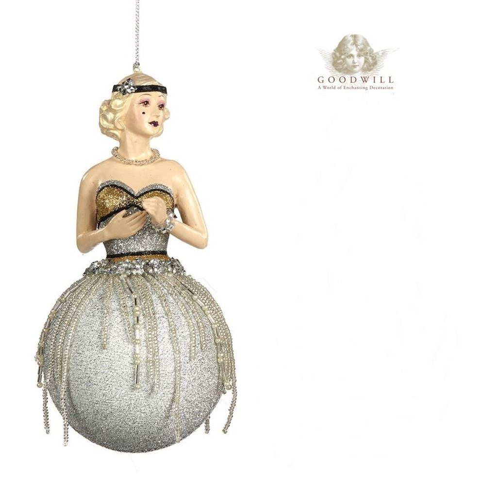 Gatsby Lady Bauble Christmas Tree Decoration Display