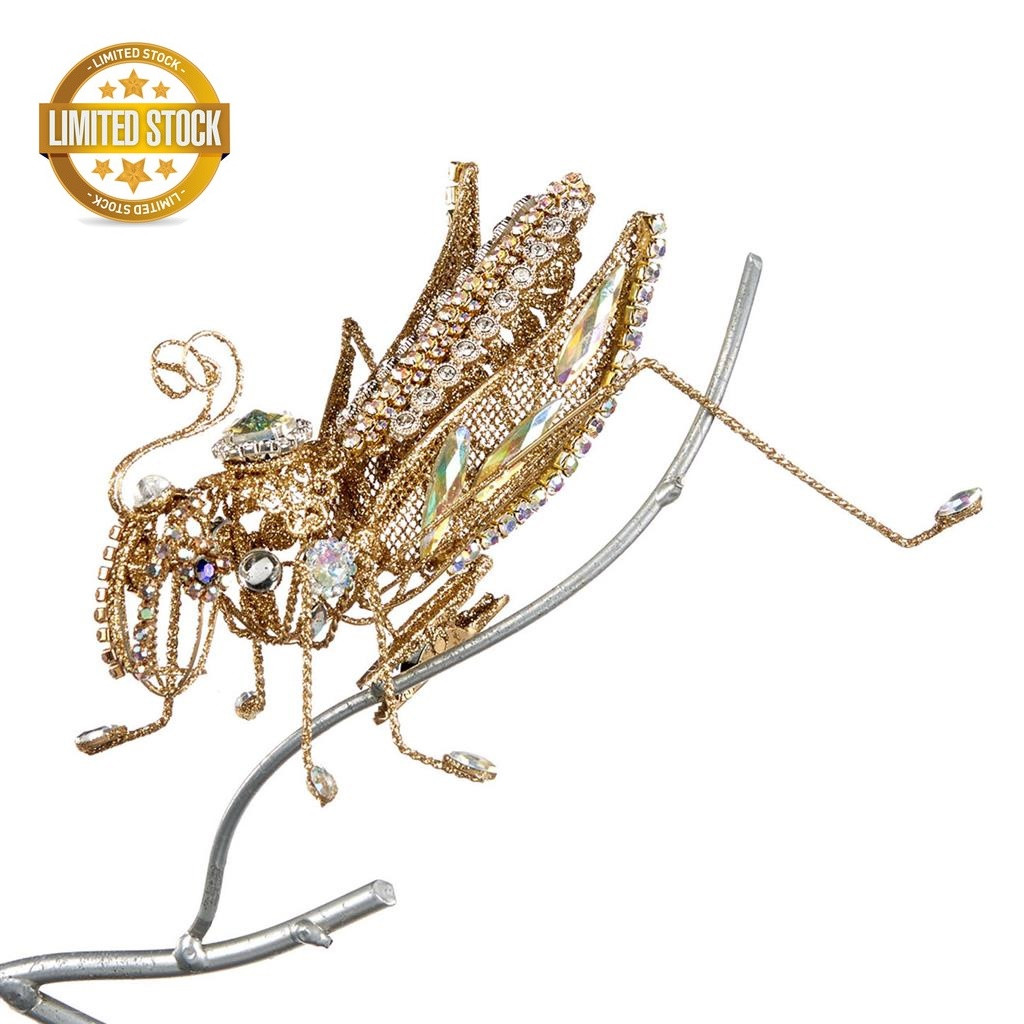 Wire Clip Jewel Grasshopper With Stunning Crystals