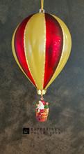 Santa Hot Air Ballon Glass Tree Decoration