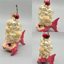 Cherry Wig Christmas Tree Decoration Display, Handmade and Hand Painted.