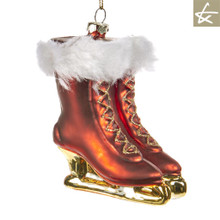 Katherine's Collection Tartan Tradition Ice skating glass boots tree ornament display.
