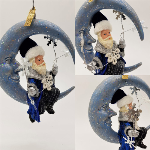 Azure Santa on moon Christmas tree decoration display, handmade and hand painted with unique detail.