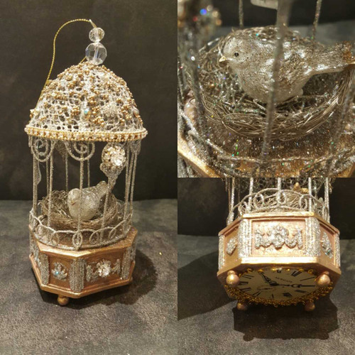 Katherine's Collection Bird Cage Clock Ornament