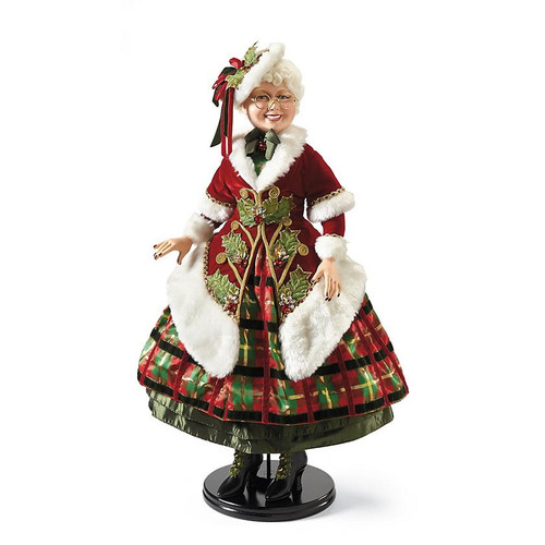 Katherine's Collection Tartan Traditions Mrs Clause Doll Display, Handmade & Hand Painted Lavish Materials
