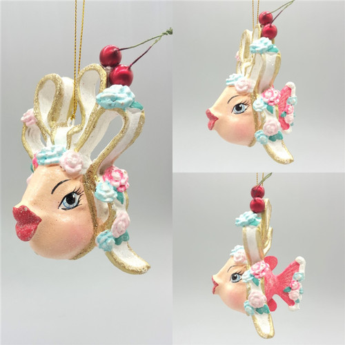 Cherry Bow Kissing Fish Christmas tree decorations has been handmade and hand painted with large cherrys and sparkling detail ready to display.