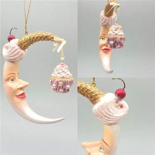 Cupcake Moon Christmas Tree Decoration Has been handmade and hand painted ready to display on the tree this season.
