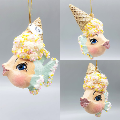 Ice Cream Kissing Fish Christmas Tree Decoration Display, Handmade & Hand Painted Ready To Display.