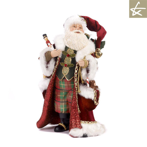 Katherine's Collection 2018 Tartan Tradition Santa doll display, handmade and hand painted with lavish velvet material.