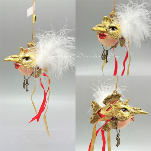 Jester Mask Kissing Fish Christmas Tree Ornament