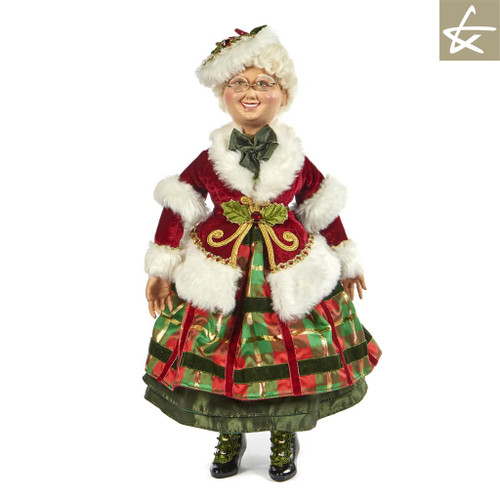 Mrs Clause Tartan Traditions 2018 Collectable doll display, handmade and hand painted with lavish detail.