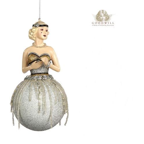 Gatsby Lady Bauble Christmas Tree Decoration Display