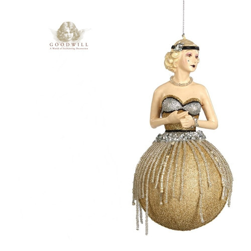 Gatsby Gold Bauble Lady Christmas Tree Decoration Large Display