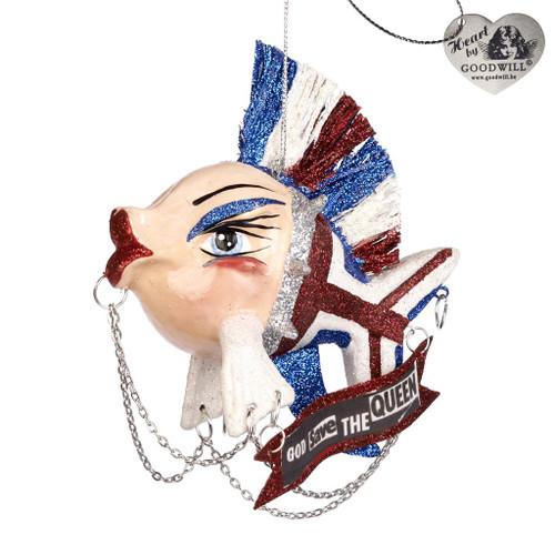 Brit Punk Kissing Fish Christmas Tree Decoration 12cm