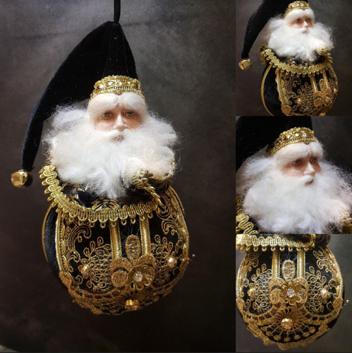 Katherine's Collection Black Gold Santa Bauble