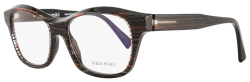 Alain Mikli Rectangular Eyeglasses A03006 B012 Size: 52mm Black/Gray/Red Striped 3006