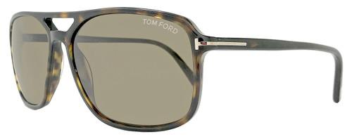 Tom Ford Rectangular Sunglasses TF332 Terry 56P Shiny Havana FT0332