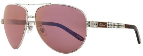 Chopard Aviator Sunglasses SCHB24S A75V Shiny Palladium B24