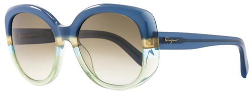 Salvatore Ferragamo Oval Sunglasses SF793S 447 Blue/Green 793