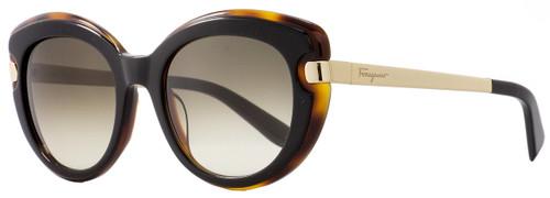 Salvatore Ferragamo Cateye Sunglasses SF813S 006 Black/Havana/Gold 813