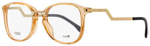Fendi Oval Eyeglasses FF0038 SLI Transparent Peach/Gold/Black 50mm 038