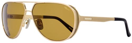 Chopard Aviator Sunglasses SCHA81M 383P Gold/Black Polarized 64mm A81