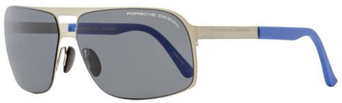 Porsche Design Rectangular Sunglasses P8579 C Satin Ruthenium/Blue 65mm 8579