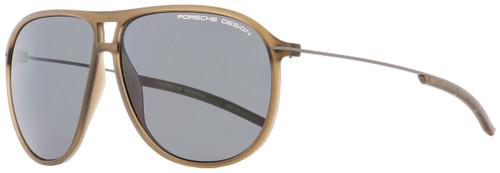 Porsche Design Oval Sunglasses P8635 B Transparent Brown/Gunmetal 61mm 8635