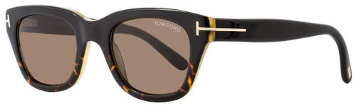 Tom Ford Rectangular Sunglasses TF237 Snowdon 05J Black/Havana/Honey 52mm FT0237