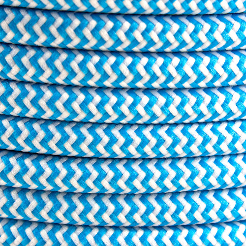 Light Blue Herringbone Round Fabric Cable 3 Core 4200437