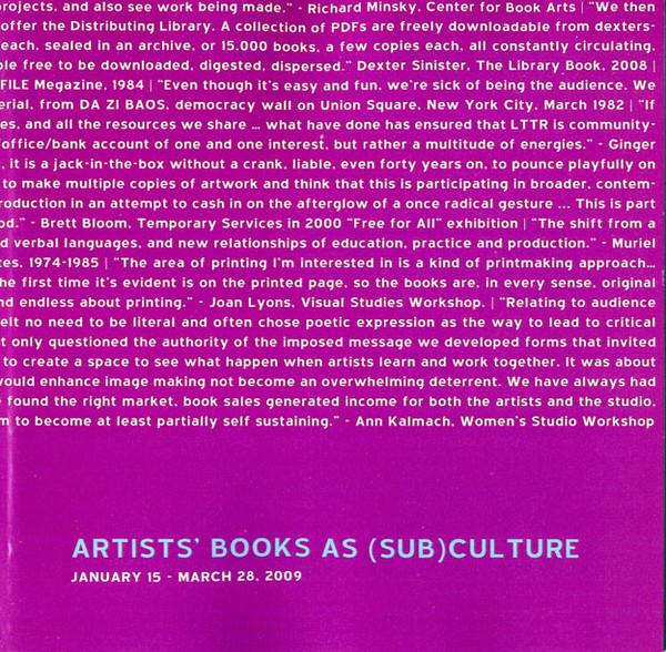 Artists' Books as (Sub)Culture
