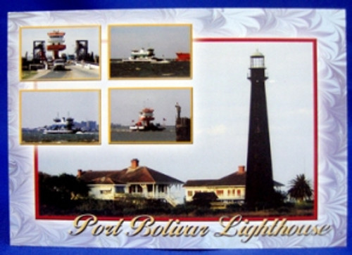 Port Bolivar Lighthouse w/Ferry Postcard
