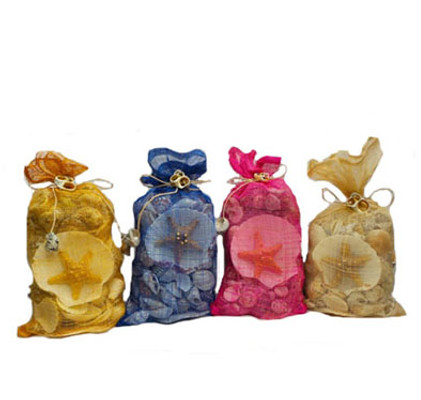 Sinamay Garden Bags w/Shells Asst. Colors