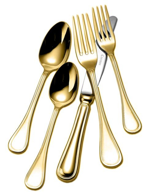 Lyrique Gold Plated 5-Piece Place Setting