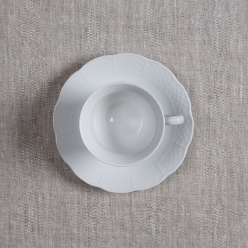 Gates-Engler Weave Simply White Cup+Saucer