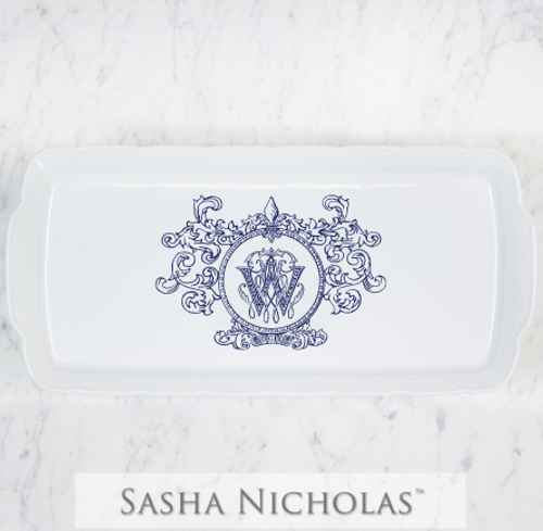Davis-Wahl Rectangle Platter Fleur De Lis Crest