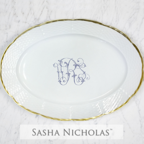Smith-Roberts Weave 24K Gold Oval Platter