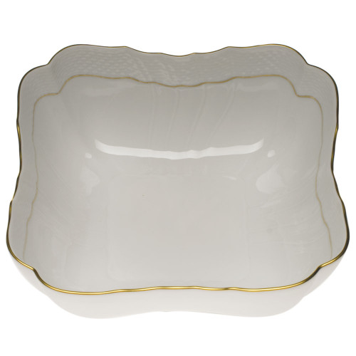 Clote-Wood Herend Golden Edge Square Salad Bowl
