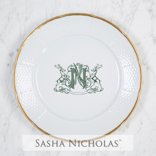Weave 24K Gold Dinner Plate with Stag Crest