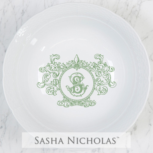 A beautiful addition to your dinnerware collection and to adorn your tablescapes with. It makes the perfect gift for your wedding registry and has the option to include an inscription on back. Choose from their signature font styles or use a custom monogram or crest of your choice! | Sasha Nicholas's white porcelain weave large serving bowl