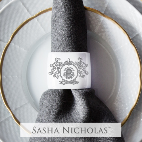 Oval Napkin Ring with Fleur De Lis Crest