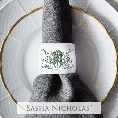 Oval Napkin Ring with Stag Crest