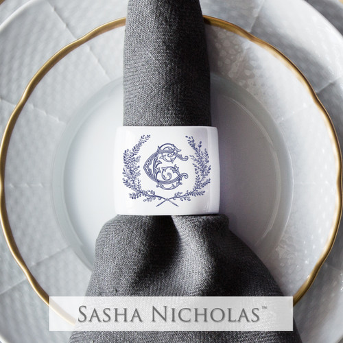 Oval Napkin Ring with Couture Wreath