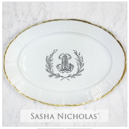 Schnoebelen-Looney 24K Gold Oval Platter With Couture Wreath