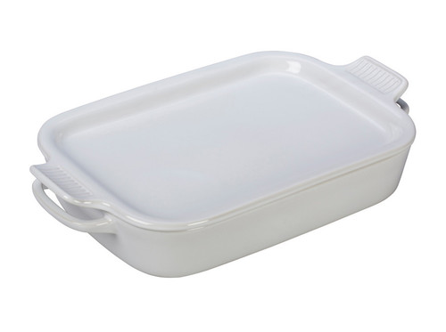 Clote-Wood Le Creuset Rectangular Dish with Platter Lid | White