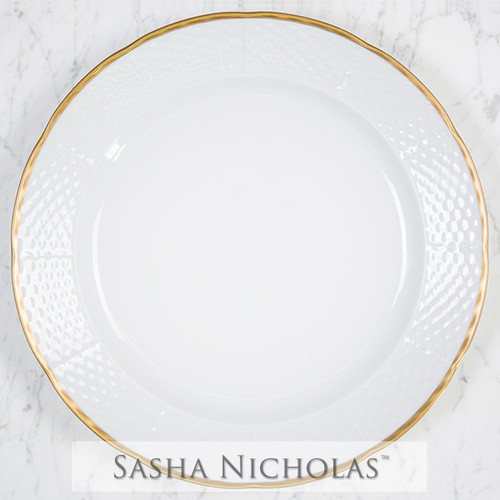 Burgess-Hiers Weave Simply White 24K Gold Charger Plate